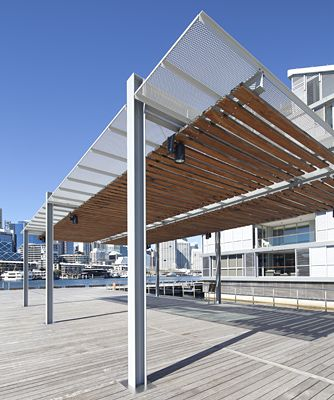 Perforated pergola u2013 mesh used as sunscreen at Wharf 7 Darling Harbour Sydney. & Perforated pergola u2013 mesh used as sunscreen at Wharf 7 Darling ...