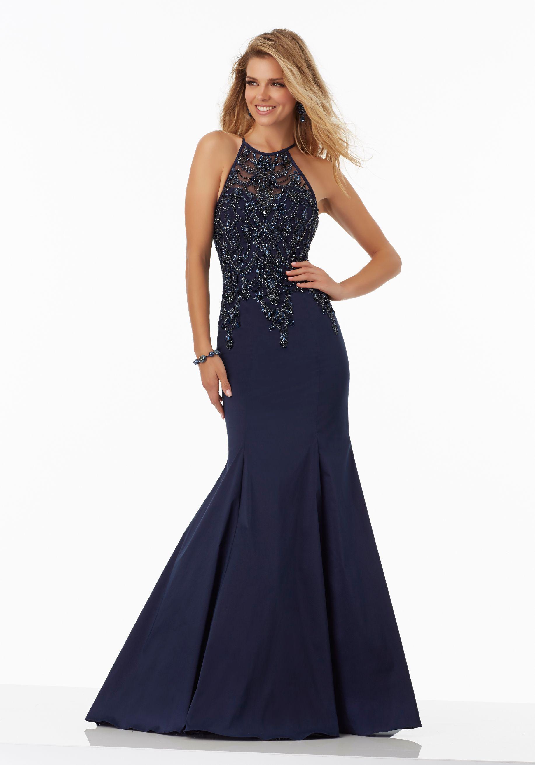 Black taffeta prom dress