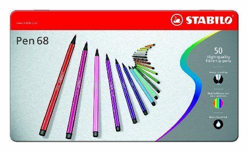 """STABILO """"Pen 68"""" set di pennarelli in scatola di metallo con """"The Mindfulness colouring book"""", Mini libro da colorare di Emma Farrarons, colori assortiti (confezione da 50) di Stabilo, http://www.amazon.it/dp/B0011UP7C4/ref=cm_sw_r_pi_dp_x_9gmtzb3749KTB"""