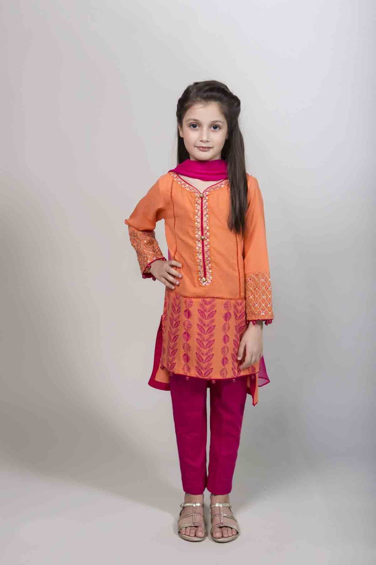 Latest orange and pink kameez kurti for pakistani girls ...