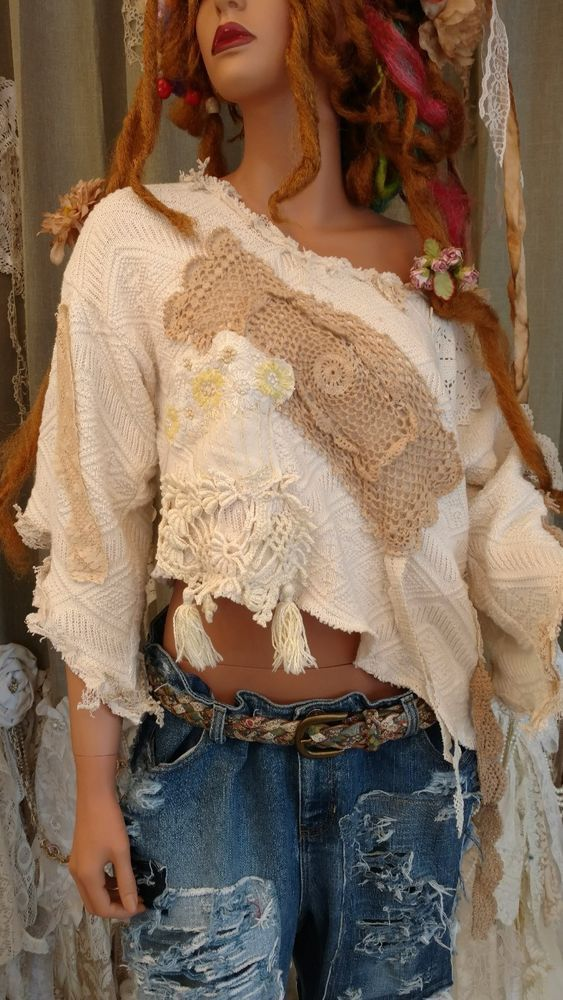 Up-cycled Off White Cotton Sweater XL Distressed Cropped Top Lace Crochet tmyers #UpcycledbyTraciMyersMe #Offtheshoulderasymmetricalcrop #Any