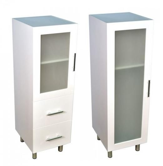1200mm White Tallboy Storage Cabinets With Chrome Legs Glass Door
