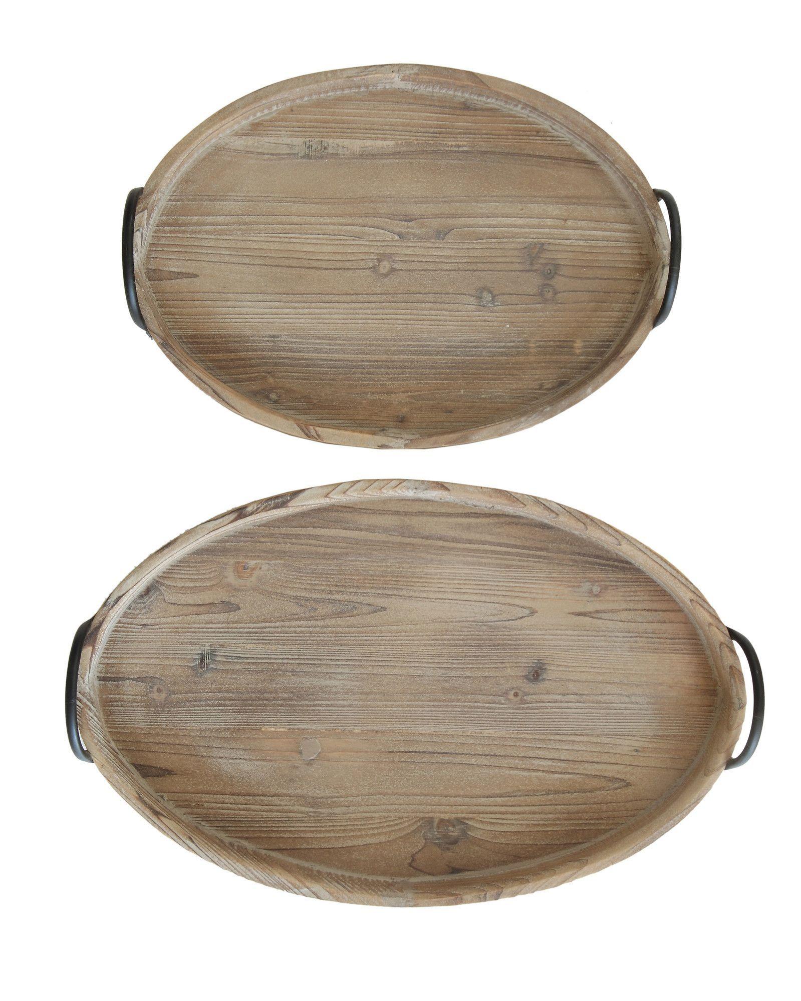 Honey 2 Piece Decorative Wood Tray with Metal Handle Set