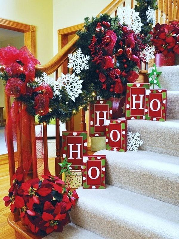 christmas stairway decoration staircase decorations