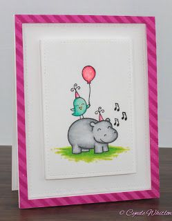 Lawn Fawn Hippo Birdie To You and Copic is part of lawn Background Stamp Sets - Gray InLinkz com
