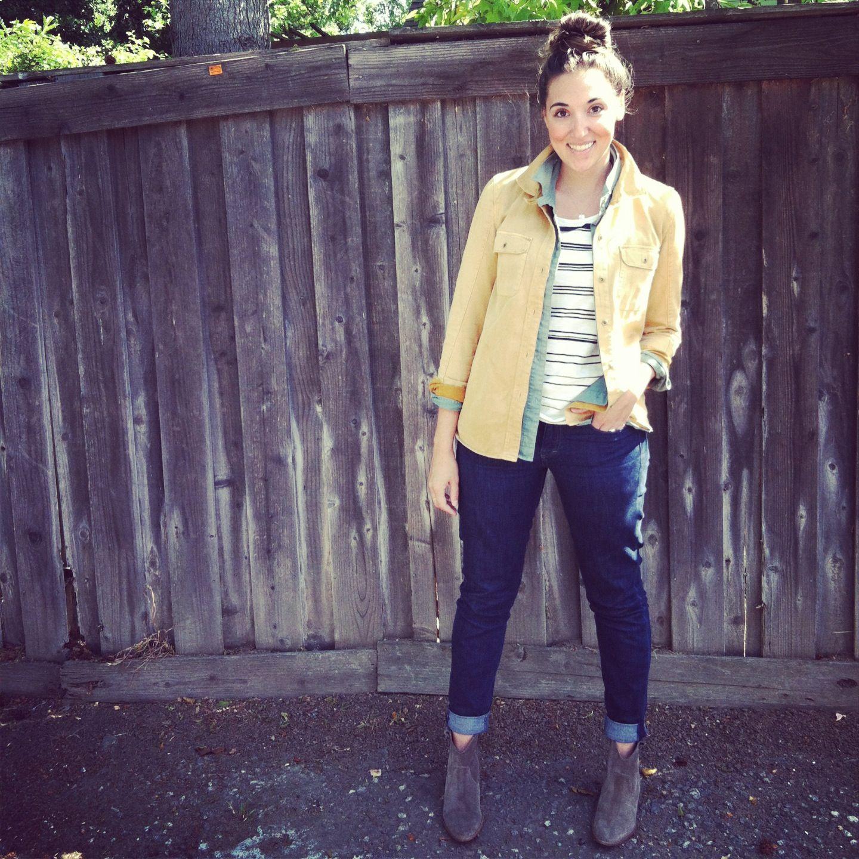 Madewell's Tomboy Workshirts are my favorite to layer w/ Skinny Skinny Madewell wash denim #denimmadewell @Madewell