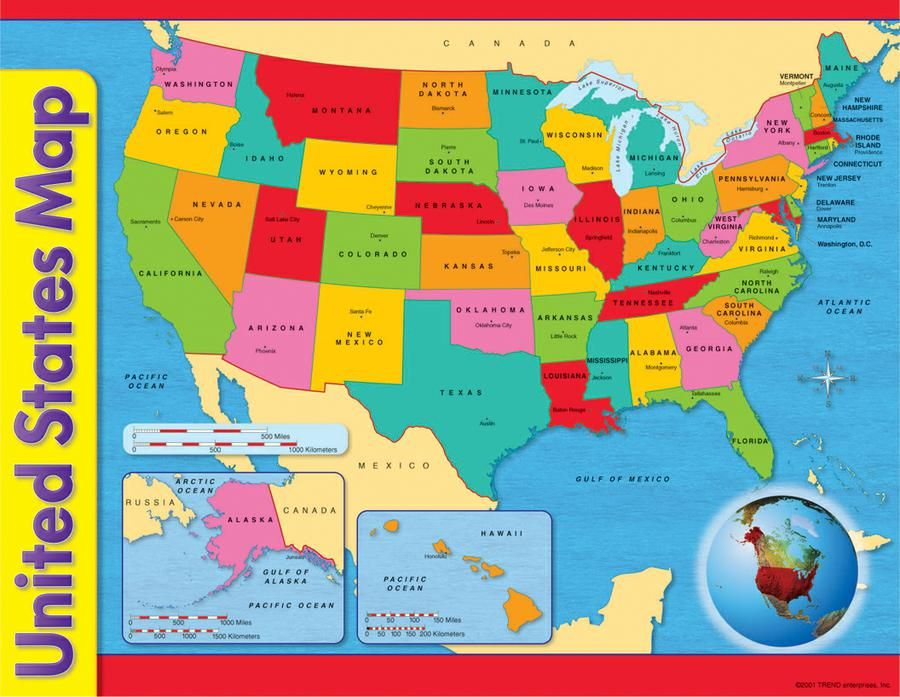 High Quality United States Map Learning Chart