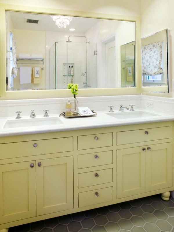 decoration dazzling cottage style bathrooms vanities with green painted cabinets using shaker door panel including polished chrome drawer knobs under a pair of rectangular undermount sink
