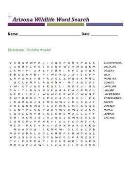 Arizona Wildlife Word Search  Word Search Character Words And