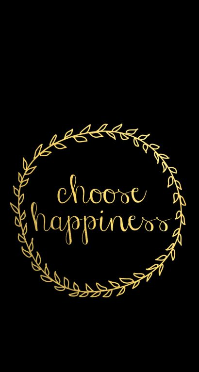 Gld Quote Classy Black Gld Vine Wreath Happiness Iphone Phone Wallpaper Background