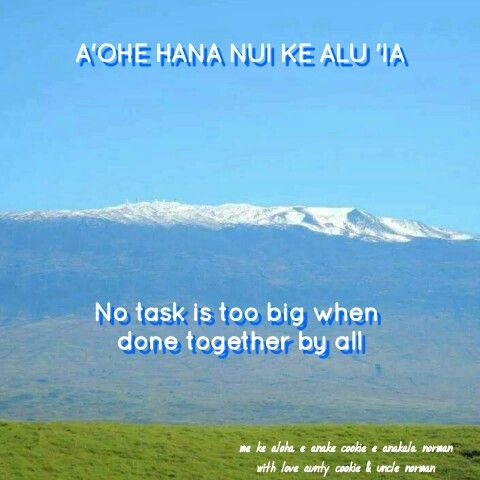 """""""No task is too big when done together by all""""   Hawaiian ..."""