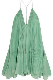 Crinkled silk-georgette mini dress