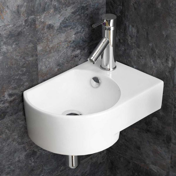 Small Wall Hung Corner Basin In White Ceramic Right Hand Sink With Overflow 400mm X 270mm Aversa Corner Basin Wall Mounted Basins Toilet For Small Bathroom