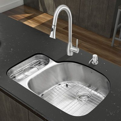 Vigo 32 L X 21 W Double Basin Undermount Kitchen Sink With Faucet Products Stainless Steel Faucets Sink Faucet
