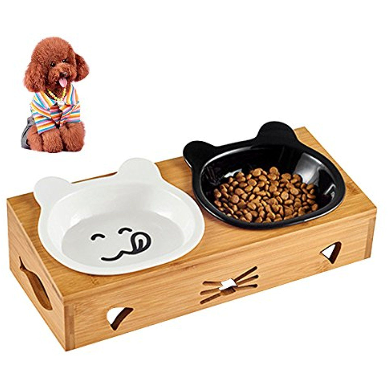 Petacc Elevated Pet Bowl Double Dog Bowls Ceramic Cat Water Bowl