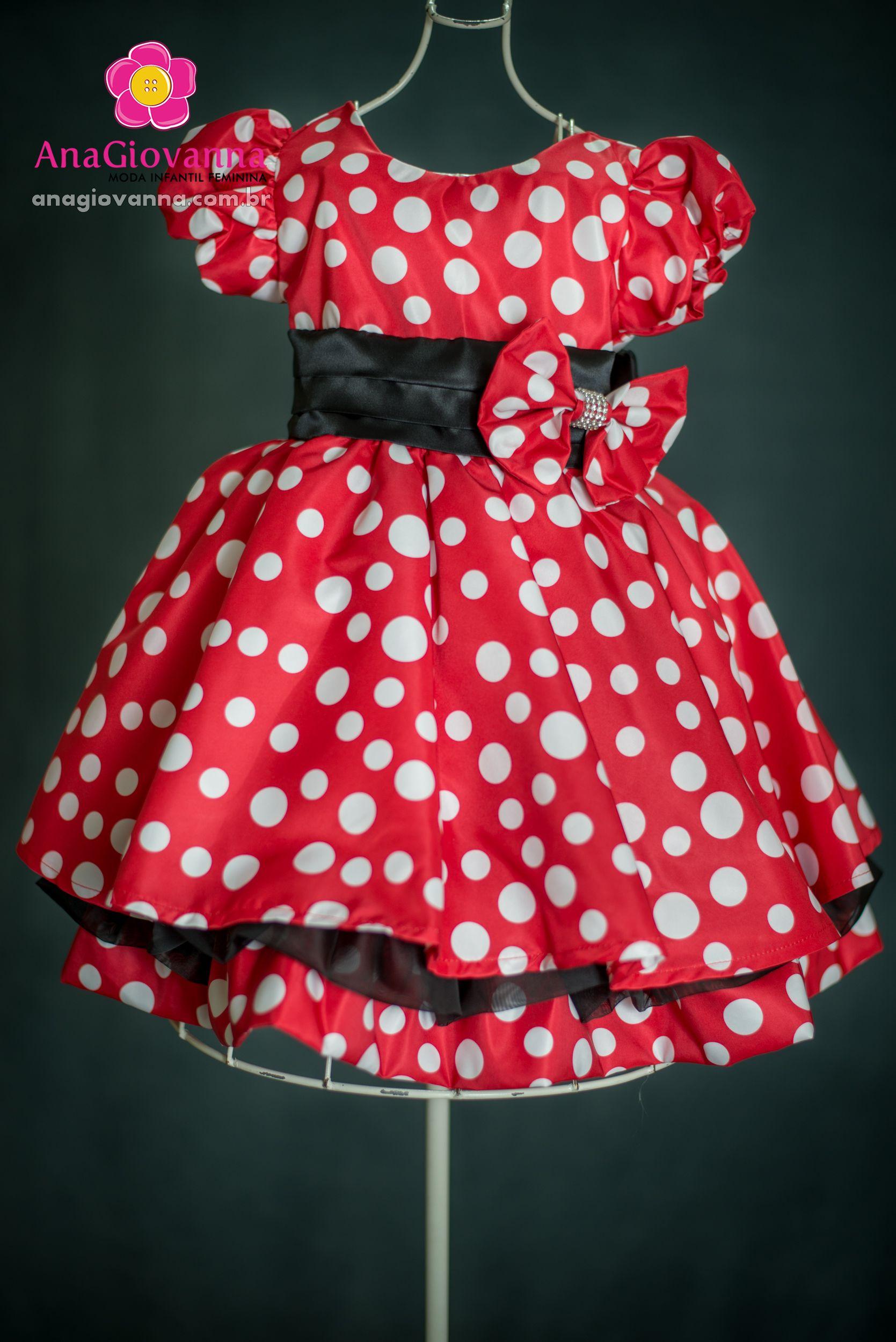 323656f9e47 O vestido Minnie Ana Giovanna para festa de aniversário infantil feminina  possui estampa em microfibra acetinada