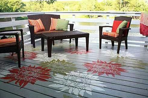 LOVE the flowers painted on this deck floor | Backyard ...