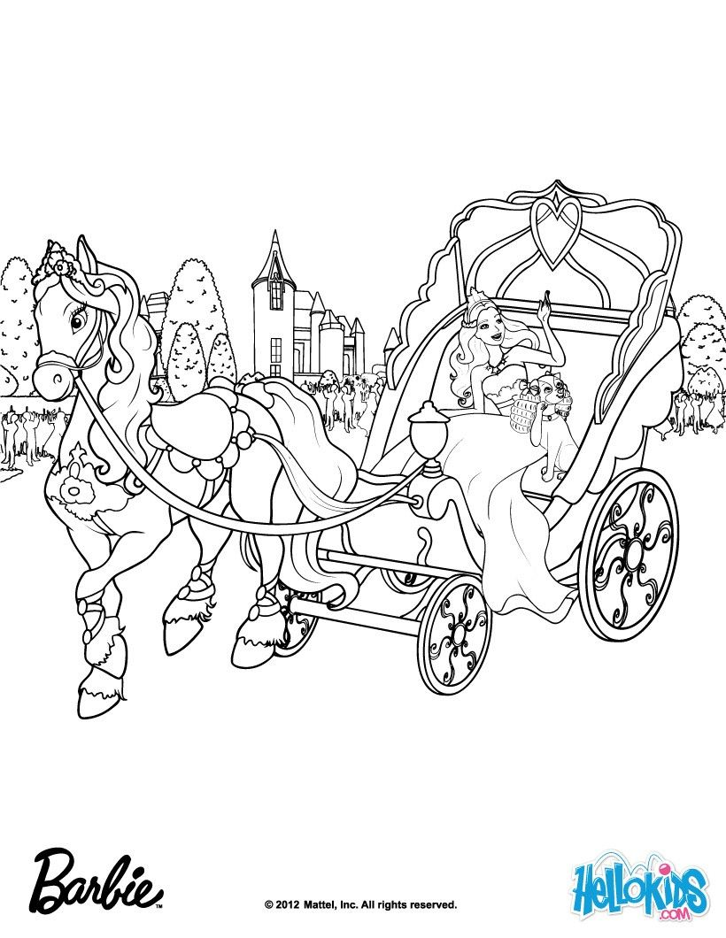 toris horse drawn carriage barbie coloring page more barbie the princess the popstar