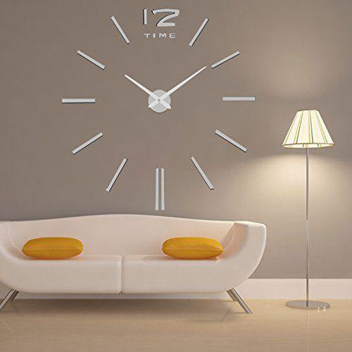 lifeup orologio da parete grandi argento adesivi murali decorazioni da parete muri moderni fai