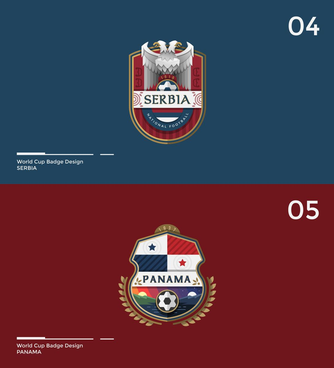 Designer Brilliantly Redesigned All The World Cup Badges During The Tournament Escudo Inspiracional Logotypes