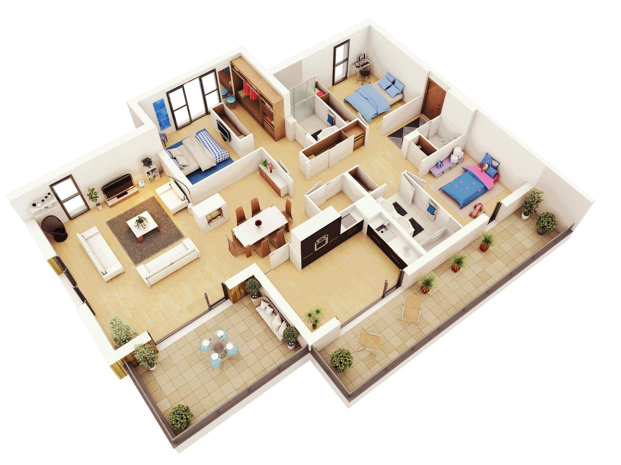 Denah Rumah 3 Kamar Terbaru 3d 3dimensi