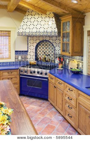 Spanish Style Kitchen - Loathe the blue counters, but adore the ...