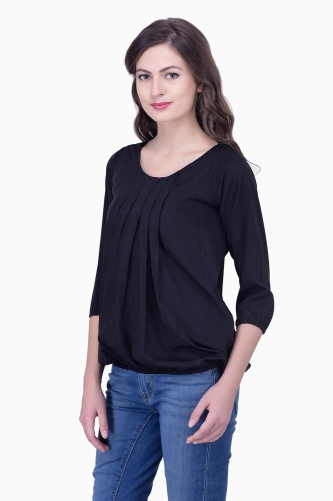 Black Solid Women Party Wear Office Casual Tops Tunics For Online India