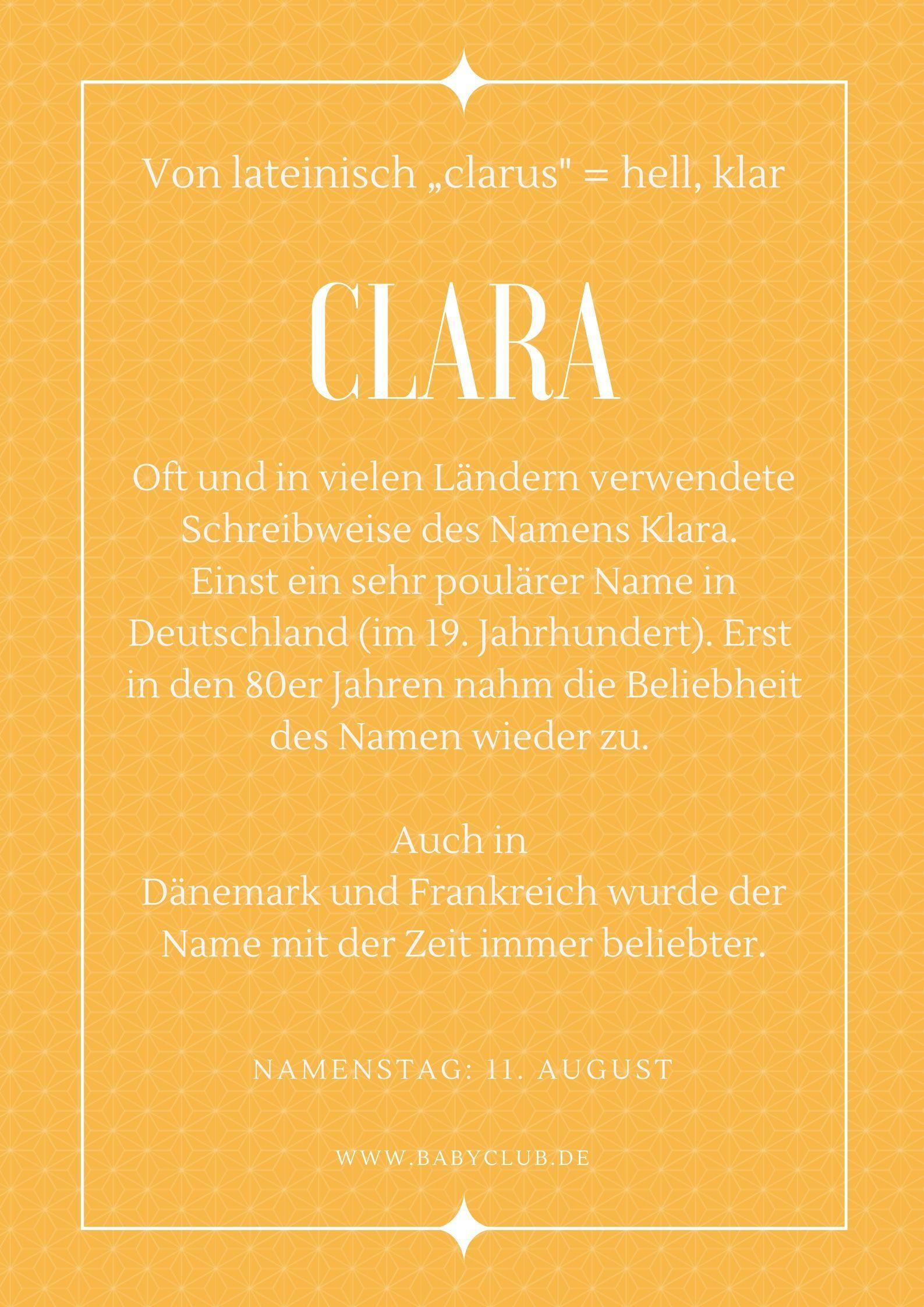 Name Clara Bedeutung Vornamen Name Namen