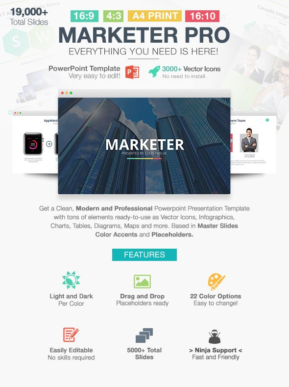 Marketer Pro Powerpoint Template Template Presentation Templates
