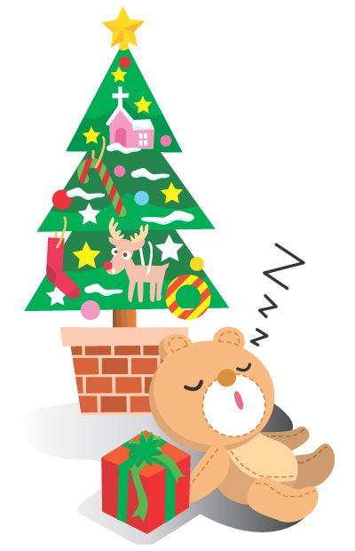 クリスマスツリーの無料イラスト素材オーナメントリース飾り