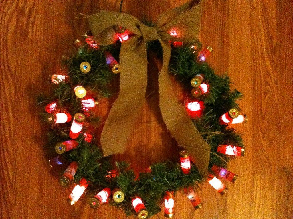 Shotgun Shell Lighted Christmas Wreath. $34.50, via Etsy.