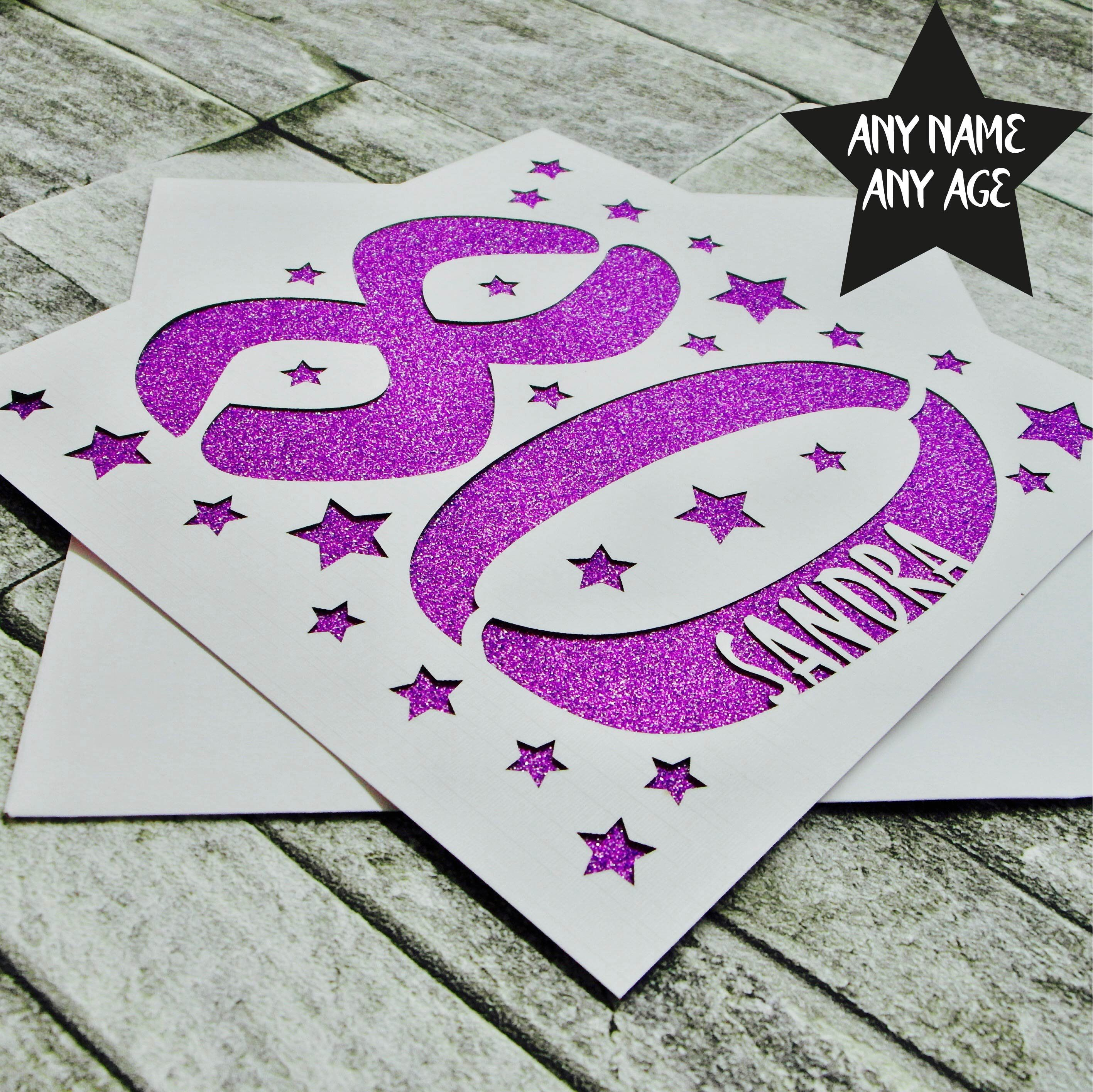 Personalised 80th Birthday Card Age 80 Eightieth For Her Mum Grandma Dad Laser Cut