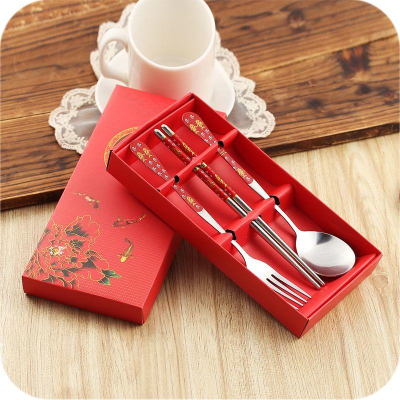 Korean Chopsticks And Spoon Fork Kit With Beautiful Gift Box Pocket Outdoor Stainless Steel Ceramic Dinne Dinnerware Tableware Tableware Set Ceramic Dinnerware