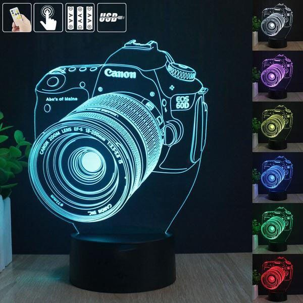 Canon Cameras 3d Night Lamp 3d Night Light Amazing Effect 7 Color Display Table Lamp Home Office Decor Create Cool Ambience Lig Canon Eos Colores Amazing