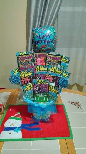 21st Birthday Scratch Ticket Bouquet Parties Gifts Lottery Winner