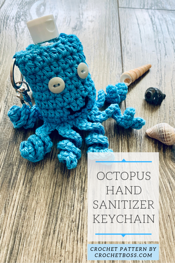 Octopus Keychain for Hand Sanitizer Crochet Pattern / Crochet Octopus Keychain Pattern / Crochet Pattern for Octopus / Digital Pattern