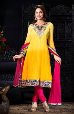 d6f0be97cf Stylelok Yellow Georgette Unstitched Suit Sl 45131 | Salwar Kameez ...