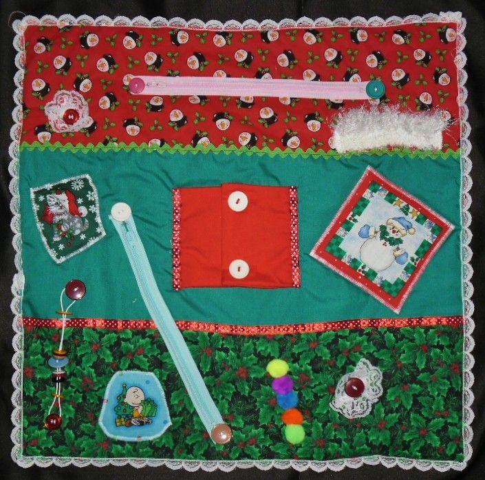 Christmas Fidget Blanket Lap Quilt  Alzheimer s Stroke Dementia Brain Trauma Autism Busy Hands Quilt