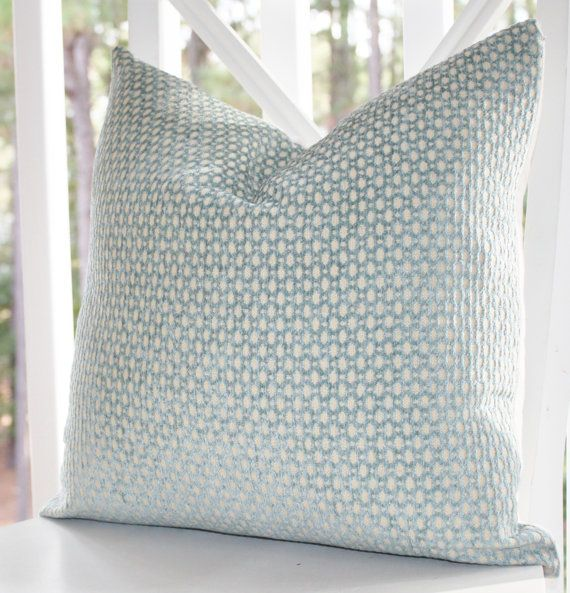 Decorative Pillow Green Blue Cover - Sea Foam Water Aqua Cream Geometric 20 x 20 Designer Pillow  - Throw Pillow...master bedroom fabric?