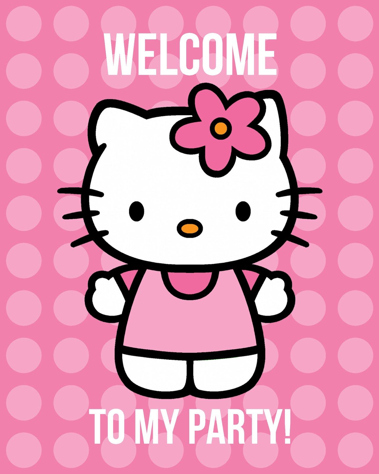 All things simple free hello kitty printables invites welcome poster button designs and - Hello kitty birthday images ...