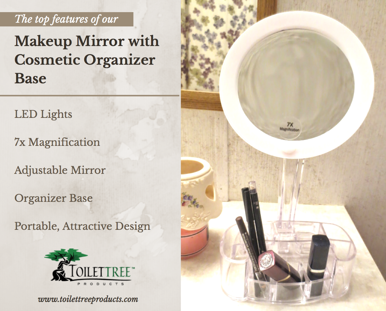 best vanity mirror with lights. LED Magnified Makeup Mirror With Organizer Base  An affordable mirror that illuminates and magnifies so your makeup is always perfect The best with Cosmetic Led