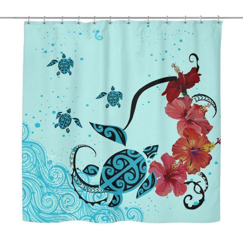 Hawaii Sea Turtle Shower Curtain H4 Curtains Shower Curtain