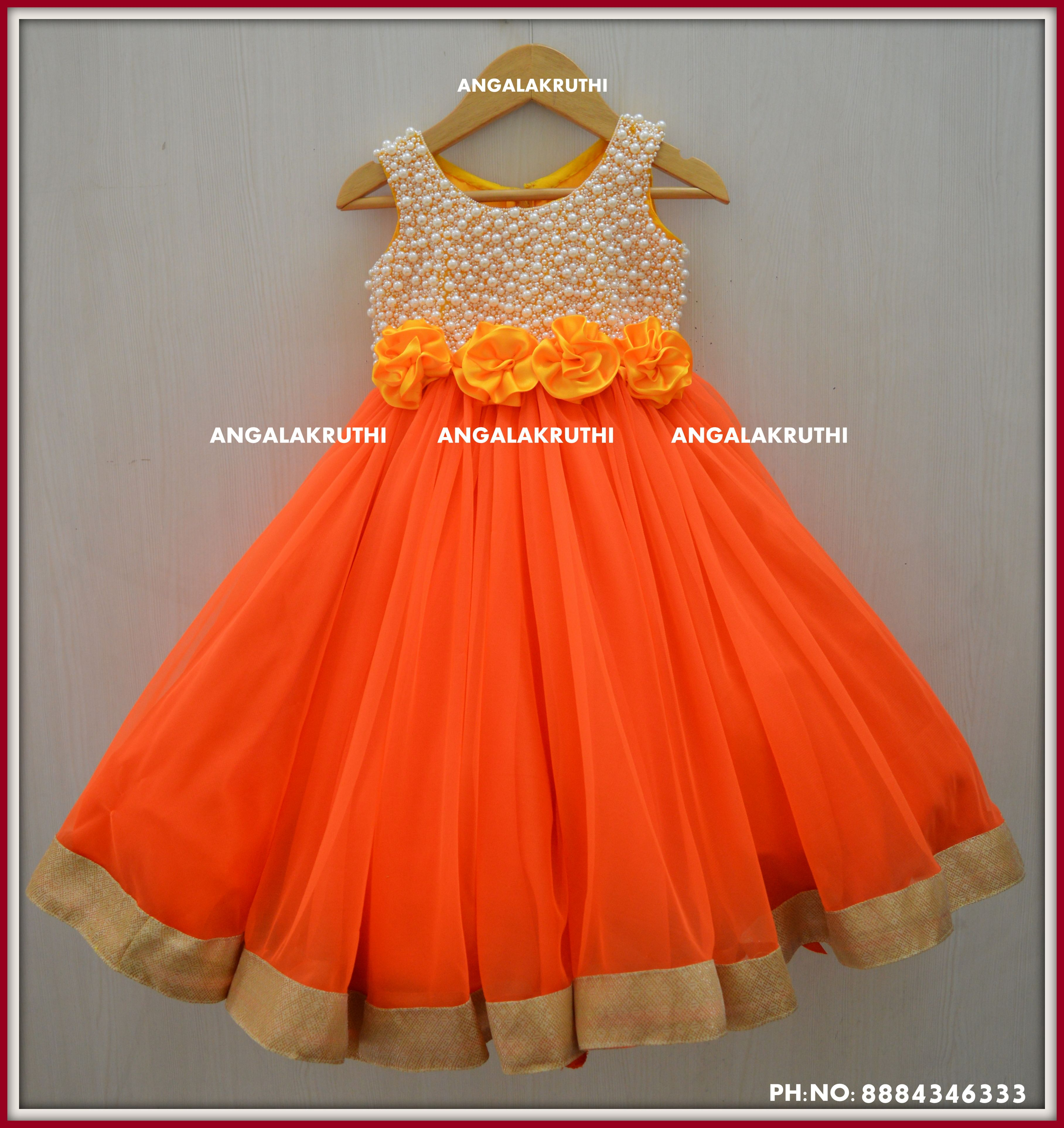 c3fe2d3c3cf #Indian traditional frock with pearl hand embroidery designs by Angalakruthi-Ladies  and kids custom designer boutique in Horamavu-Bangalore #Pearl hand ...
