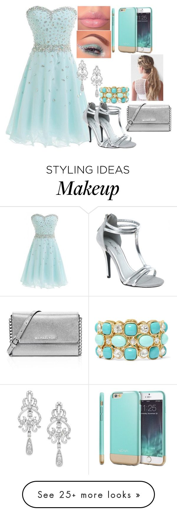 """Featured Item: Mint colored dress"" by kiara-fleming on Polyvore featuring Wrapped In Love, Monet and MICHAEL Michael Kors"