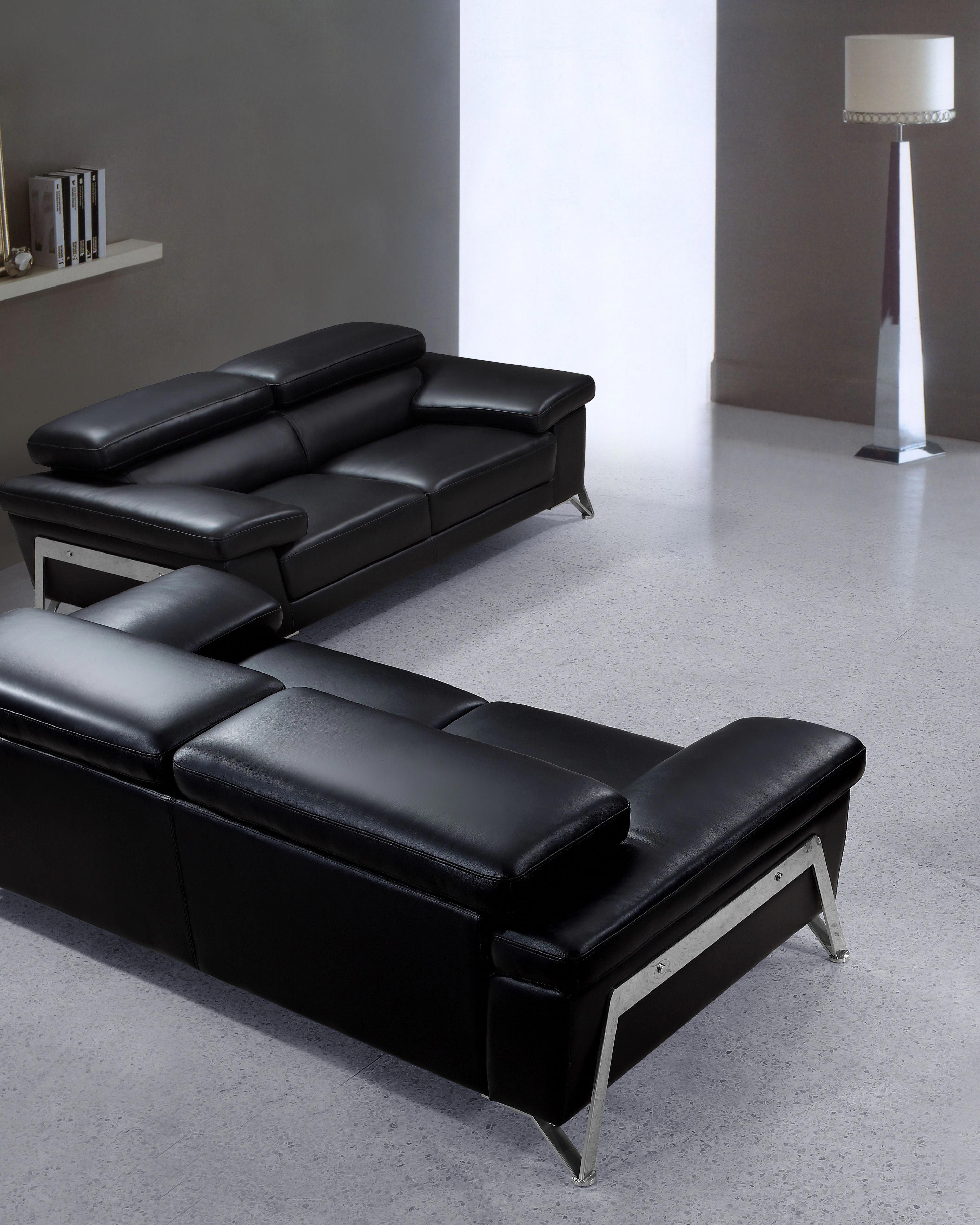 Best This Modern Black Leather Sofa Set Features Contemporary 400 x 300