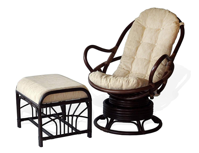 Java swivel rocking chair dark brown white cushion