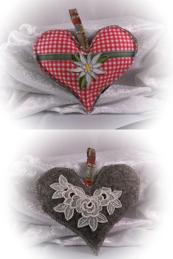 Stoffherzen Genaht Herz Aus Stoff Edelweiss Tischdeko Wanddeko Ulemo