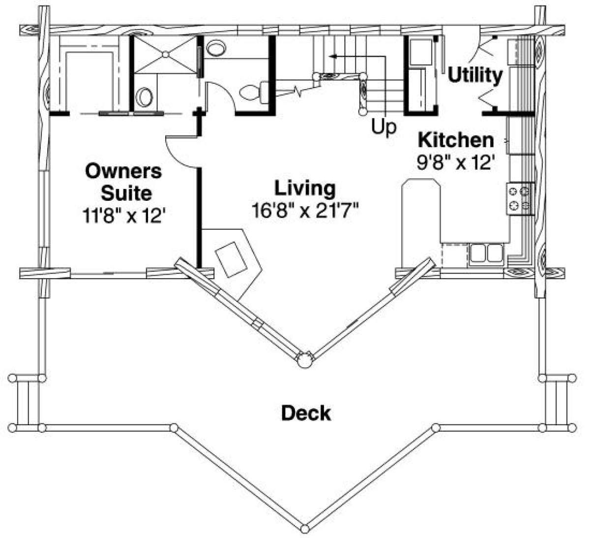 House Plan 035 00142 Cabin Plan 1 216 Square Feet 2 Bedrooms 2 Bathrooms In 2020 Cabin Plans Log Cabin House Plans Log Cabin Plans