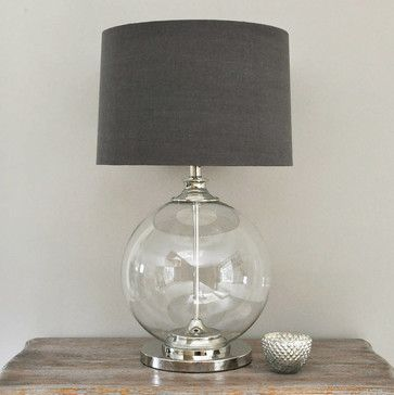Glass Ball Table Lamp And Gray Shade By Primrose Plum Contemporary Table Lamps Grey Table Lamps Table Lamps Living Room Room Lamp