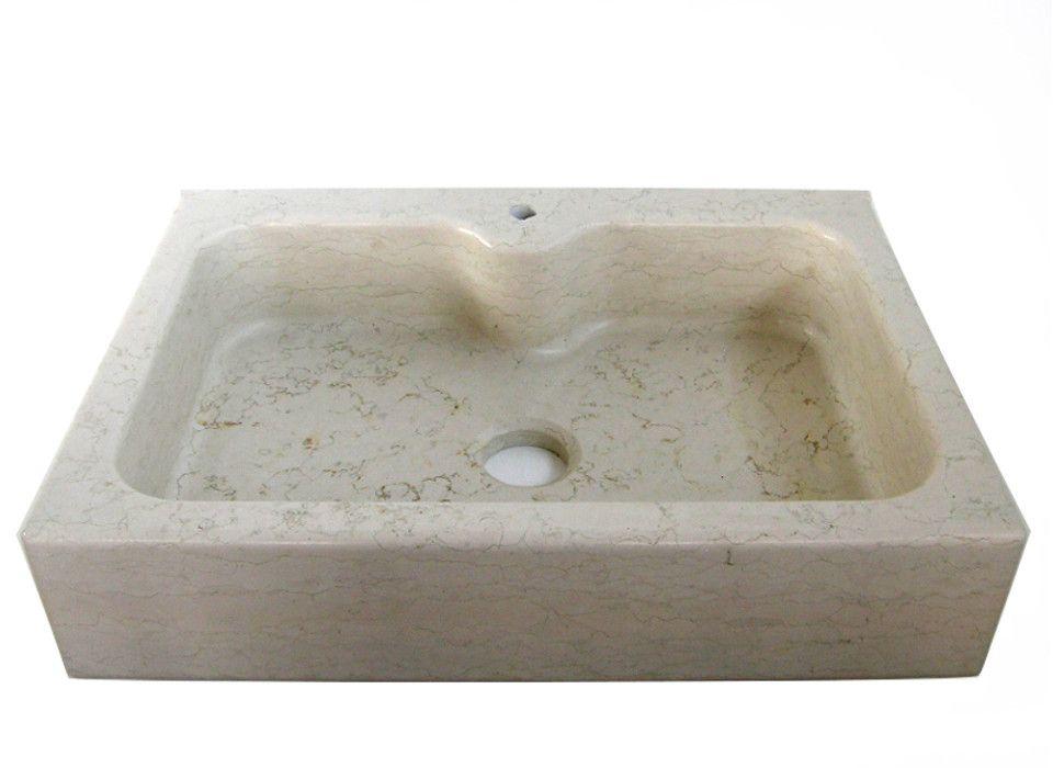 Lavello cucina ad una vasca in marmo Biancone con testa dritta e ...